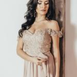 Вечернее платье-корсет бежевого цвета с кружевом и шифоновой юбкой zd00432bg-2