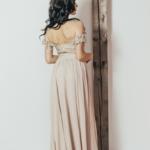 Вечернее платье-корсет бежевого цвета с кружевом и шифоновой юбкой zd00432bg-3