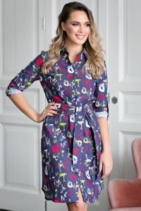 """Джинсовое платье-рубашка с принтом """"буквы"""" купить в интернет-магазине"""