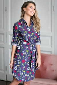 """Джинсовое платье-рубашка с принтом """"буквы"""" заказать с примеркой"""