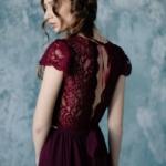 Коктейльное платье миди вишневого цвета с вырезом на спине zd00296ch-2