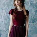 Коктейльное платье миди вишневого цвета с вырезом на спине zd00296ch-3