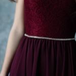 Коктейльное платье миди вишневого цвета с вырезом на спине zd00296ch-4