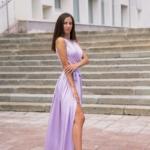 Сиреневое платье в пол в греческом стиле из шелка zd00238vl-1