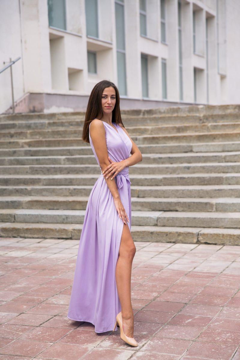 Сиреневое платье в пол в греческом стиле из шелка купить в интернет-магазине