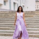 Сиреневое платье в пол в греческом стиле из шелка zd00238vl-2