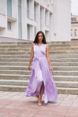 Купить Сиреневое платье в пол в греческом стиле из шелка с примеркой