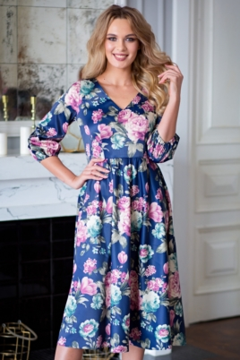 Синее платье из атласа длины миди с цветочным принтом купить в интеернет-магазине