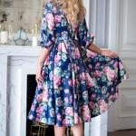Синее платье из атласа длины миди с цветочным принтом sz00156bl-2