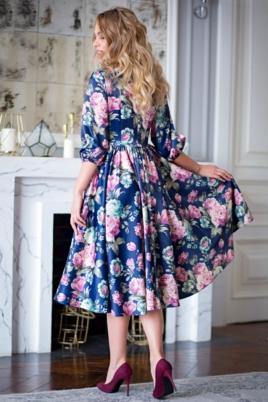 Синее платье из атласа длины миди с цветочным принтом заказать с примеркой