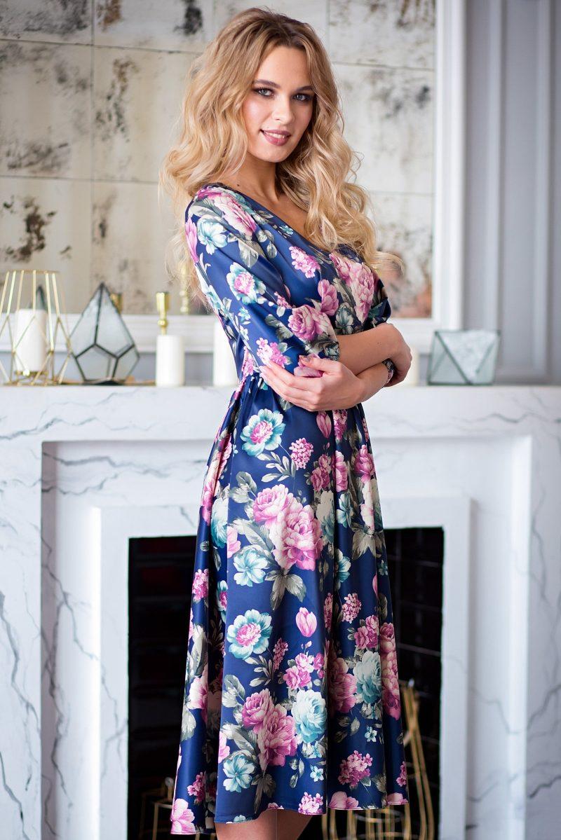 Купить Синее платье из атласа длины миди с цветочным принтом с бесплатной доставкой