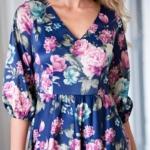 Синее платье из атласа длины миди с цветочным принтом sz00156bl-4