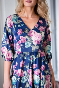 Заказать Синее платье из атласа длины миди с цветочным принтом с примеркой