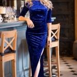 Вечернее платье из бархата синего цвета с драпировкой и разрезом sz00184bl-1