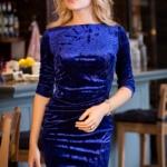 Вечернее платье из бархата синего цвета с драпировкой и разрезом sz00184bl-2