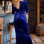 Вечернее платье из бархата синего цвета с драпировкой и разрезом sz00184bl-3