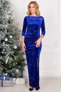 Вечернее платье из бархата синего цвета с драпировкой и разрезом на новый год