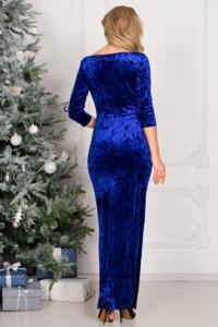 Новогоднее вечернее платье из бархата синего цвета с драпировкой и разрезом