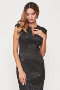 Черное платье-футляр из жаккарда с вырезом на груди купить в интернет-магазине