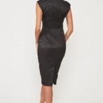 Черное платье-футляр из жаккарда с вырезом на груди vv51664bk-3