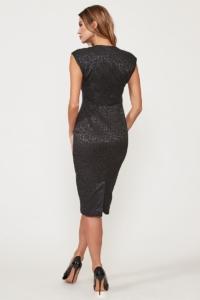 Купить Черное платье-футляр из жаккарда с вырезом на груди с доставкой