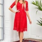 Кружевное платье миди красного цвета с пышной юбкой vv52045rd-1