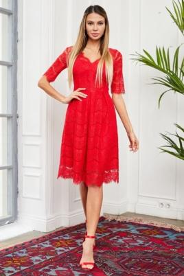 Кружевное платье миди красного цвета с пышной юбкой купить в интернет-магазине