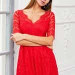 Кружевное платье миди красного цвета с пышной юбкой vv52045rd-2