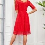 Кружевное платье миди красного цвета с пышной юбкой vv52045rd-3
