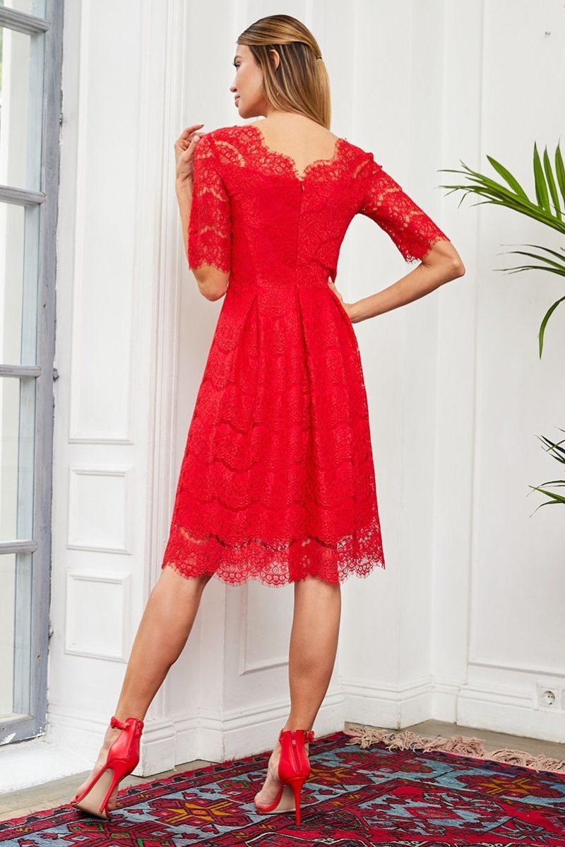 Купить Кружевное платье миди красного цвета с пышной юбкой с бесплатной доставкой