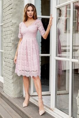 Кружевное платье миди пудрового цвета с пышной юбкой купить в интернет-магазине