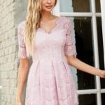 Кружевное платье миди пудрового цвета с пышной юбкой vv52045pw-2