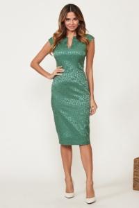 Светло-зеленое платье-футляр из жаккарда с вырезом на груди купить в интернет-магазине