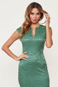 Светло-зеленое платье-футляр из жаккарда с вырезом на груди заказать с примеркой