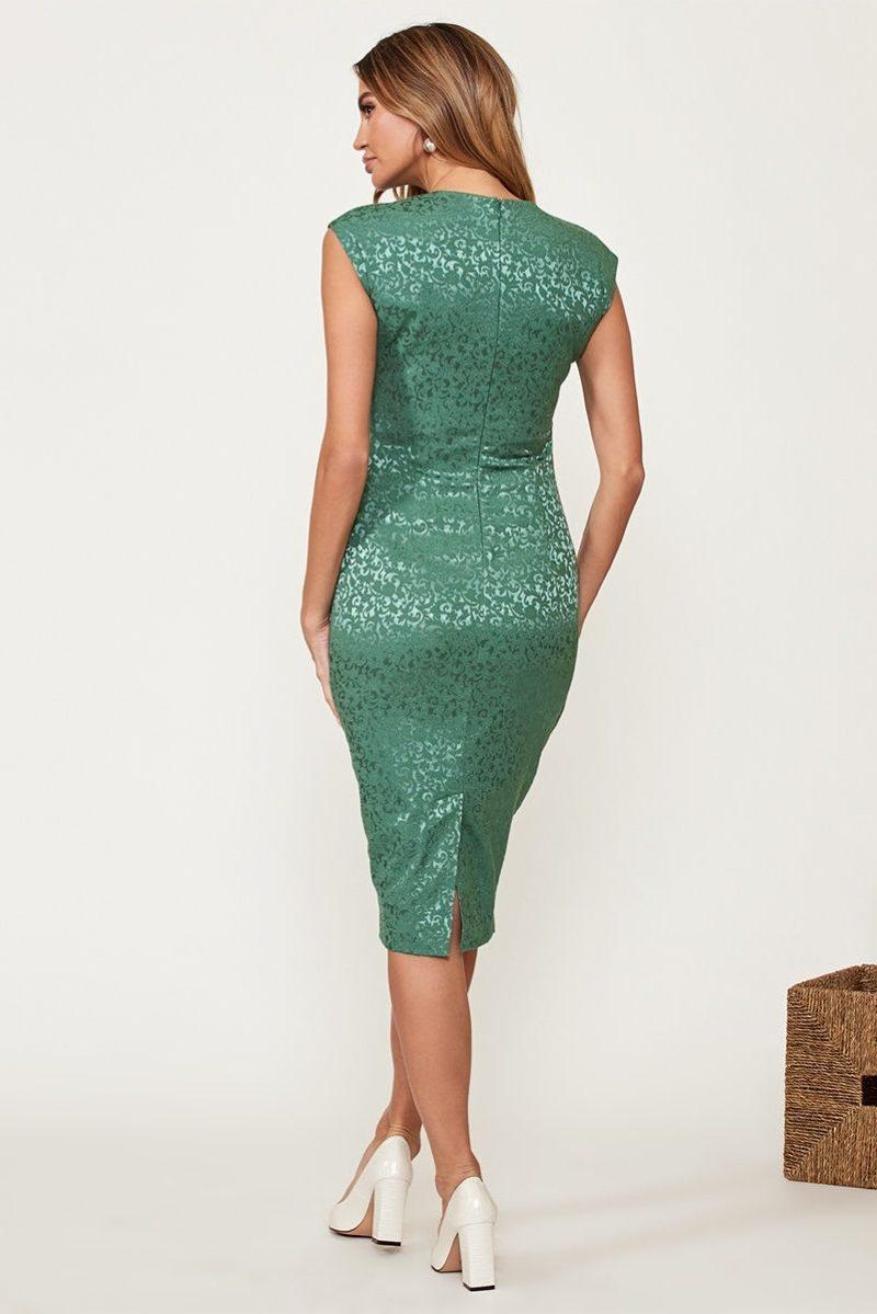 Купить Светло-зеленое платье-футляр из жаккарда с вырезом на груди с бесплатной доставкой