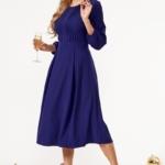 Темно-синее платье миди с расклешенной юбкой и длинными рукавами vv51579bl-1