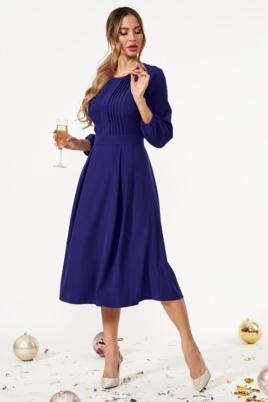 Темно-синее платье миди с расклешенной юбкой и длинными рукавами купить в интернет-магазине