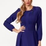 Темно-синее платье миди с расклешенной юбкой и длинными рукавами vv51579bl-2
