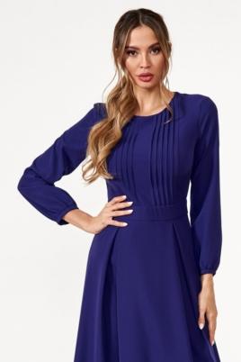 Темно-синее платье миди с расклешенной юбкой и длинными рукавами заказать с примеркой