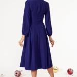 Темно-синее платье миди с расклешенной юбкой и длинными рукавами vv51579bl-3
