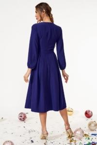 Купить Темно-синее платье миди с расклешенной юбкой и длинными рукавами с бесплатной доставкой
