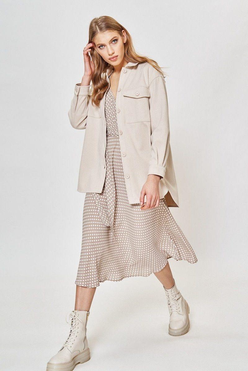 Купить Бежевое платье в горошек из вискозы длины миди с глубоким вырезом с доставкой и примеркой