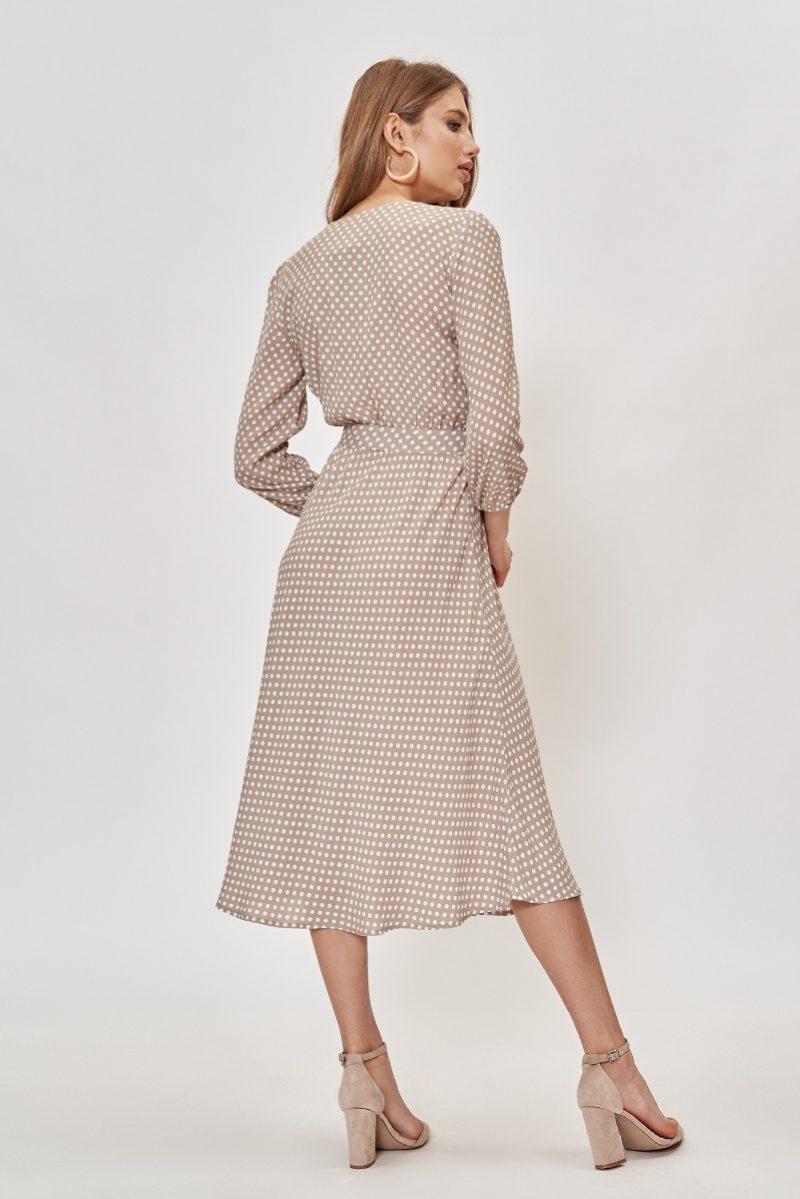 Где купить платье Бежевое платье в горошек из вискозы длины миди с глубоким вырезом с примеркой