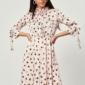 Бежевое платье в горошек с отложным воротником и рукавами 3/4 купить в интернет-магазине