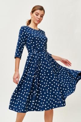Синее платье миди в белый горошек с поясом и рукавами 3/4 купить в интернет-магазине