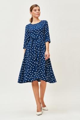 Синее платье миди в белый горошек с поясом и рукавами 3/4 заказать с примеркой