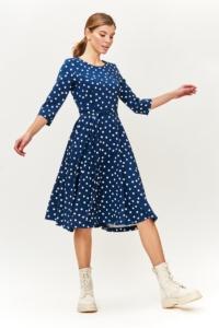 Купить Синее платье миди в белый горошек с поясом и рукавами 3/4 онлайн с примеркой