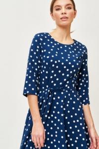 Где купить Синее платье миди в белый горошек с поясом и рукавами 3/4 в интернете