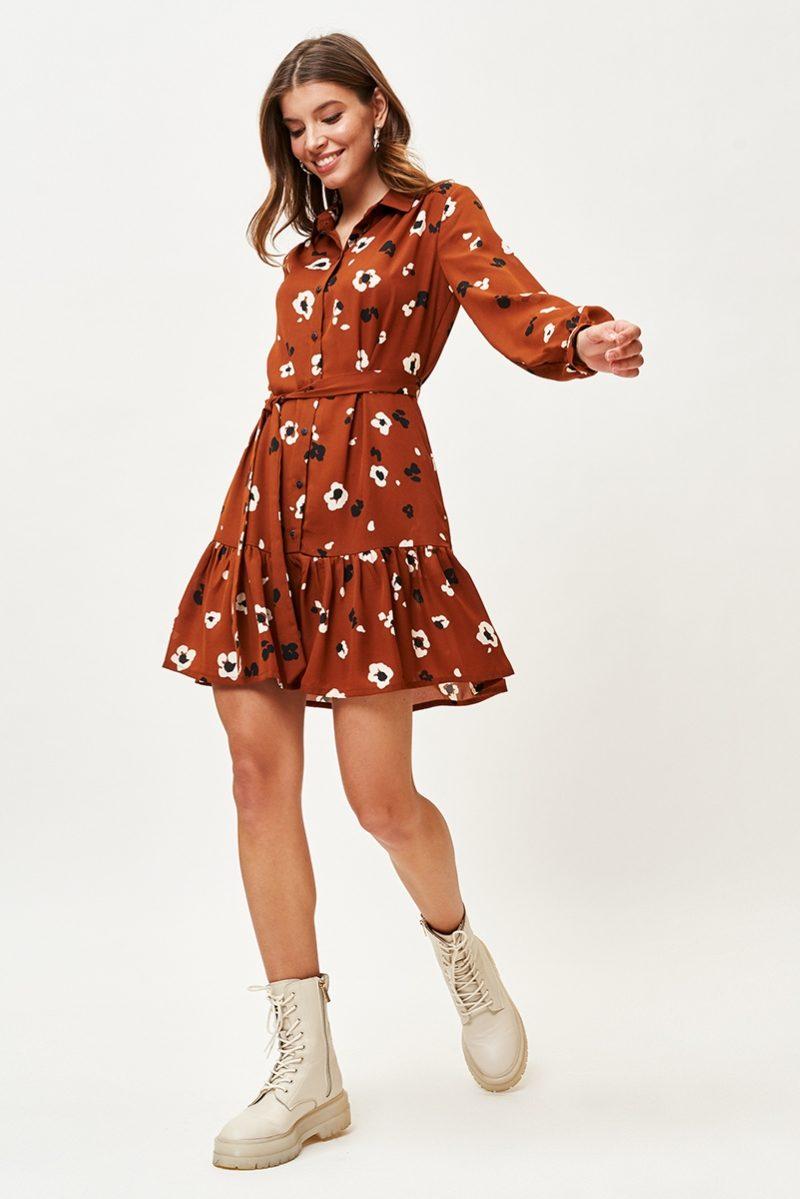 Светло-коричневое платье мини с цветочным принтом и воланом заказать с примеркой
