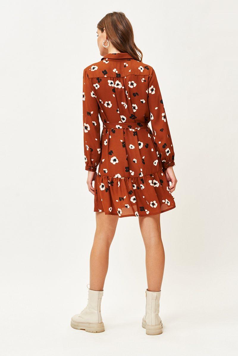 Купить Светло-коричневое платье мини с цветочным принтом и воланом с бесплатной доставкой